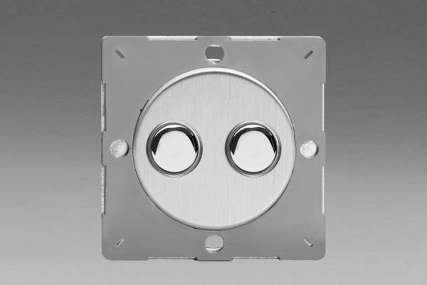 Z1EGP2S-P Varilight European VariGrid 2 gang 1 or 2 Way 6A Impulse Polished Chrome Switch, for use with VariGrid Single, Double and Triple Faceplates