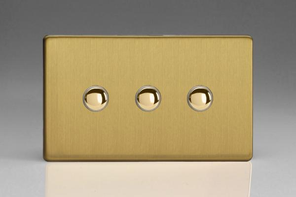 Z2XDBTD3S  3 Gang Touch/Remote Dimmer Plate Screwless Brushed Brass