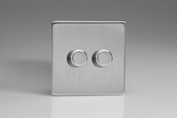 Z2WHDS2S  2 Gang Dimmer Plate Screwless Brushed Steel