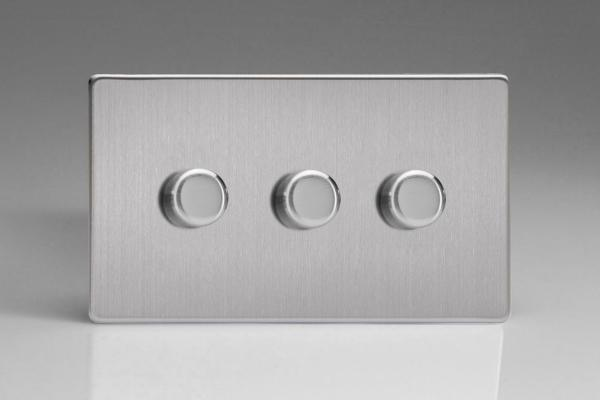 Z2XDSTD3S  3 Gang Touch/Remote Dimmer Plate Screwless Brushed Steel