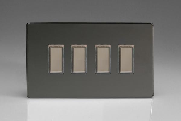 Z2XDIW4S  4 Gang Eclique 2 Dimmer Plate Screwless Iridium