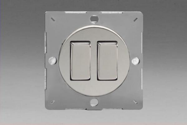 Z1EG2C-P Varilight European VariGrid 2 gang 1 or 2 Way 10A Rocker Polished Chrome Switch, for use with VariGrid Single, Double and Triple Faceplates