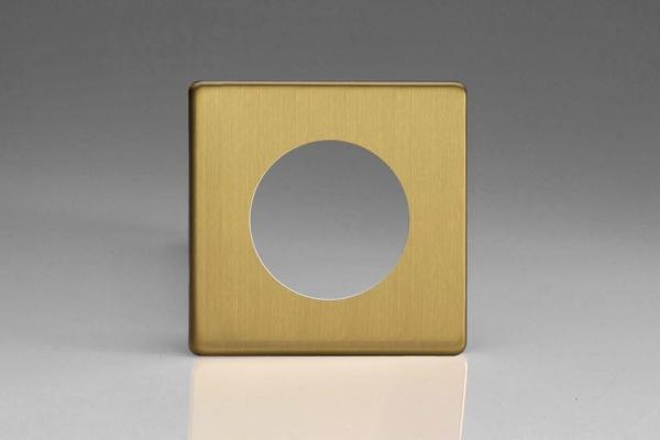 XEBG1S-P Varilight European VariGrid Single faceplate with a 1 hole cut-out,  Dimension Screwless Brushed Brass