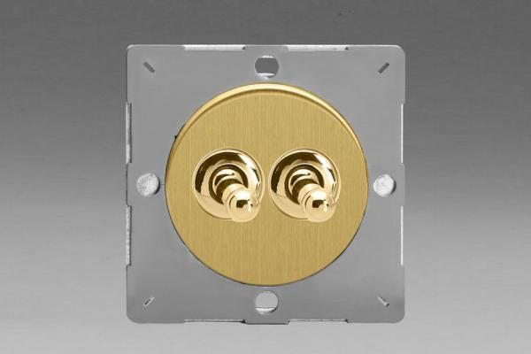 Z1EGT2B-P Varilight European VariGrid 2 gang 1 or 2 Way 10A Toggle Polished Brass Switch, for use with VariGrid Single, Double and Triple Faceplates