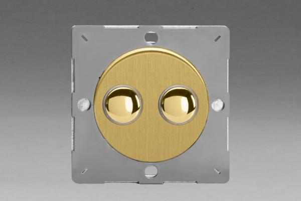 Varilight European Brushed Brass VariGrid 2 Gang 1 or 2 Way 6A Impulse Switch