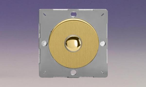 Z1EGM1B-P Varilight European VariGrid 1 gang 1 Way Only 6A Push Momentary Polished Brass Switch, for use with VariGrid Single, Double and Triple Faceplates