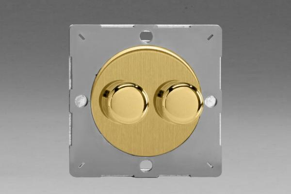Z1EGTP2B-P Varilight European VariGrid Thermal Series 2 gang 1 (or 2) Way 40-250 Watt Push on/off  Rotary Dimming with Polished Brass Knobs (Not for LEDs), for use with VariGrid Single, Double and Triple Faceplates
