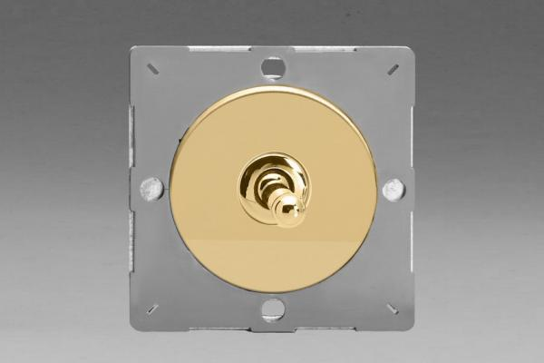 Z1EGT1V-P Varilight European VariGrid 1 gang 1 or 2 Way 10A Toggle Polished Brass Switch, for use with VariGrid Single, Double and Triple Faceplates