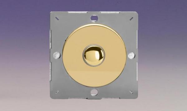 Z1EGM1V-P Varilight European VariGrid 1 gang 1 Way Only 6A Push Momentary Polished Brass Switch, for use with VariGrid Single, Double and Triple Faceplates