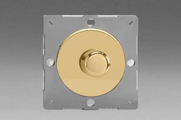 Z1EGTP1V-P Varilight European VariGrid Thermal Series 1 gang 1 or 2 Way 60-400 Watt Push on/off Rotary Dimming with a Polished Brass Knob (Not for LEDs), for use with VariGrid Single, Double and Triple Faceplates