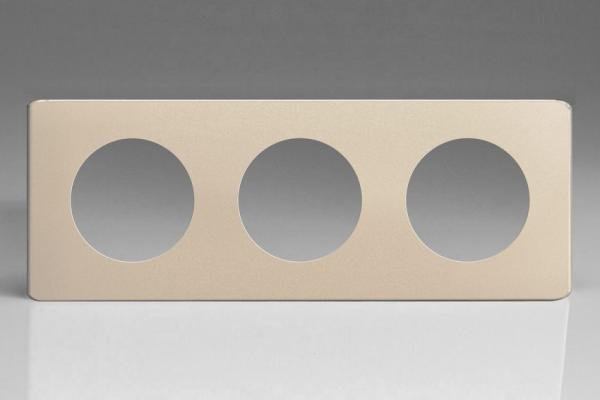 XENG3S-P Varilight European VariGrid Triple faceplate with a 3 hole cut-out,  Dimension Screwless Satin Chrome