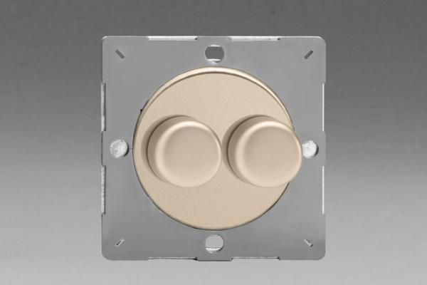 Varilight European Satin Chrome VariGrid V-Dim Thermal Series 2 Gang 1 or 2 Way 40-250 Watt Dimmer
