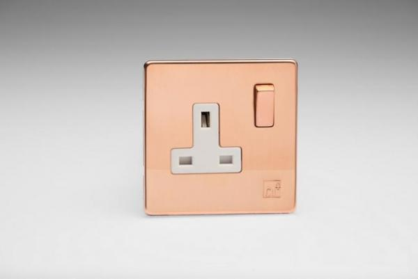 XDY4WS.AC - 1-Gang 13A Double Pole Switched Socket with Metal Rockers, Antimicrobial Copper