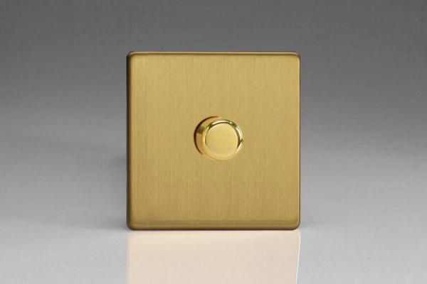IDBP1001S Varilight V-Plus Series 1 Gang 1 or 2 Way 1000 Watt/VA Dimmer on a Double Plate, Dimension Screwless Brushed Brass Effect