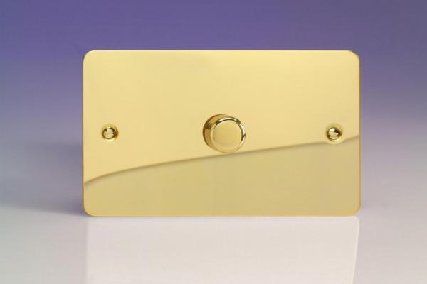 IFVDP1001 Varilight V-Plus Series 1 Gang 1 or 2 Way 1000 Watt/VA Dimmer on a Double Plate, Ultra Flat Polished Brass Effect