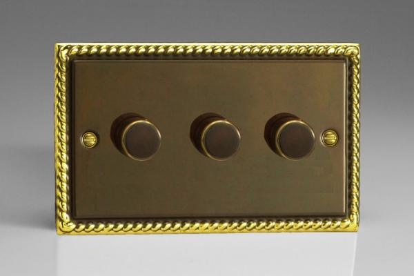 JADP503 Varilight V-Pro Series 3-Gang 2-Way Push-On/Off Rotary LED Dimmer 3 x 10-250W (Max 30 LEDs) (Twin Plate), Classic Antique Georgian