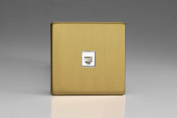 XEBRJ12S Varilight European RJ12 Socket for European and Irish telephone and other RJ12 applications, Dimension Screwless Brushed Brass Effect