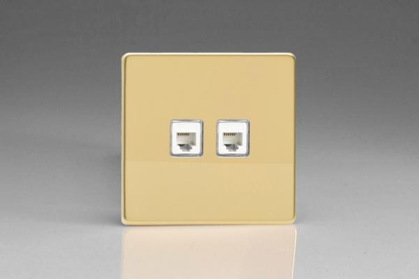 XEVRJ12.12S Varilight European 2 Gang (Double) RJ12 Socket for European, Irish, International, telephone and other RJ12 applications, Dimension Screwless Polished Brass