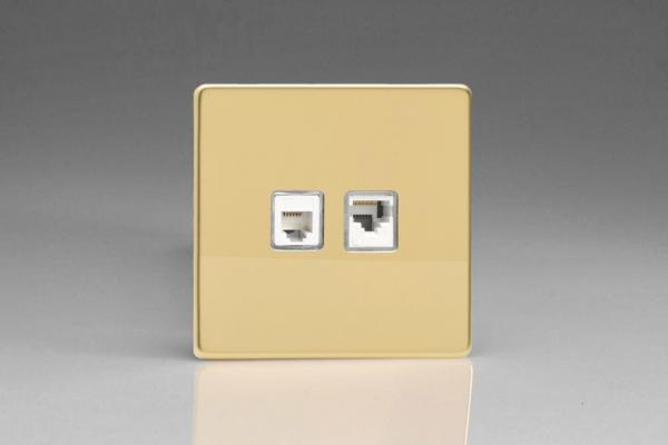 Varilight Euro Fixed 2 Gang RJ45 CAT 5e and RJ12 Socket European Screwless Polished Brass