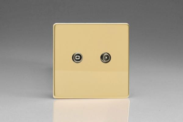 Varilight Euro Fixed Range RTV 18dB Passage/Inline/Slave Socket, for Analogue and Digital RTV Installations European Screwless Polished Brass