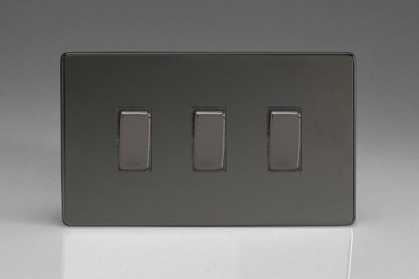 XDI93S Varilight 3 Gang, 1 or 2 Way 10 Amp Switch on a Double Plate, Dimension Screwless Iridium Black
