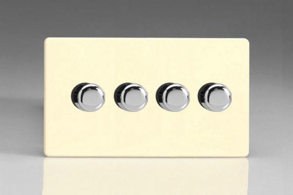 IDWDP304S Varilight V-Plus 4 Gang, 1 or 2 Way 4x300 Watt/VA, Dimmer, Dimension Screwless White Chocolate