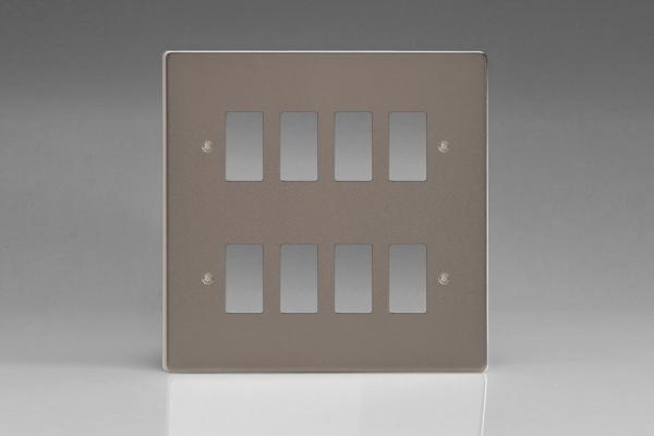 Varilight 8 Gang Power Grid Faceplate Including  Power Grid Frames