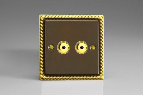 IAI252M-CL Varilight 2 Gang, 1 or 2 Way or Multi-way 2x250 Watt Touch/Remote Master Dimmer, Classic Antique Georgian