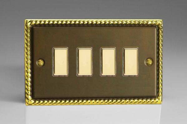 JAES004 - Varilight V-Pro Series Eclique2  (Multi Point Remote), 4 Gang Tactile Touch Button Slave Unit for 2 way or Multi-way Circuits Only, Classic Antique Georgian