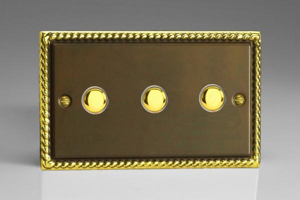 XAM3 Varilight 3 Gang (Triple), 1 Way, 6 Amp  Retractive/Momentary Switch (Push To Make), Classic Georgian Antique