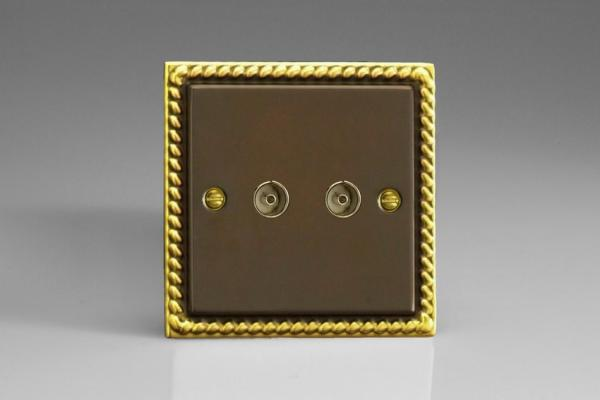XA88 Varilight 2 Gang, Co-axial TV Socket, Classic Antique Georgian