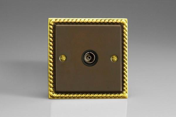 XA8ISOB Varilight 1 Gang, Isolated Co-axial TV Socket, Classic Antique Georgian