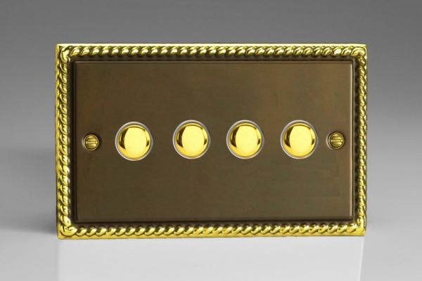 XAM4 Varilight 4 Gang (Quad), 1 Way, 6 Amp  Retractive/Momentary Switch (Push To Make), Classic Georgian Antique