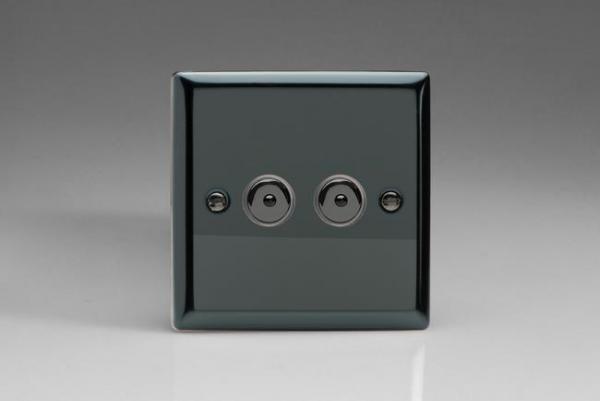 III252M-CL Varilight 2 Gang, 1 or 2 Way or Multi-way 2x250 Watt Touch/Remote Master Dimmer, Classic iridium Black