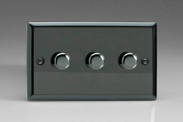 IIDP303 Varilight V-Plus 3 Gang, 1 or 2 Way 3x300 Watt/VA Dimmer, Classic iridium Black