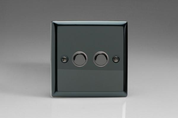 XIP2 Varilight 2 Gang (Double) 1 or 2 way 6 Amp Push-on Push-off Switch (impulse), Classic iridium Black