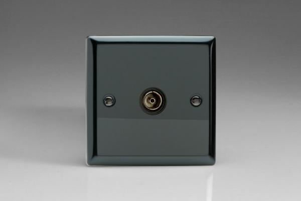 XI8ISOB Varilight 1 Gang (Single), Isolated Co-axial TV Socket, Classic iridium Black