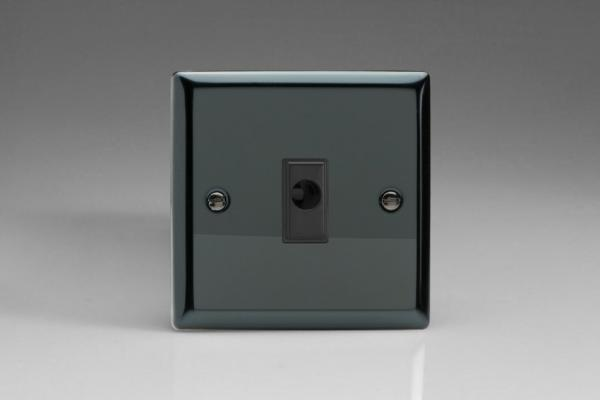 XIFOB Varilight Flex Outlet Plate with Cable Clamp. Black insert, Classic iridium Black
