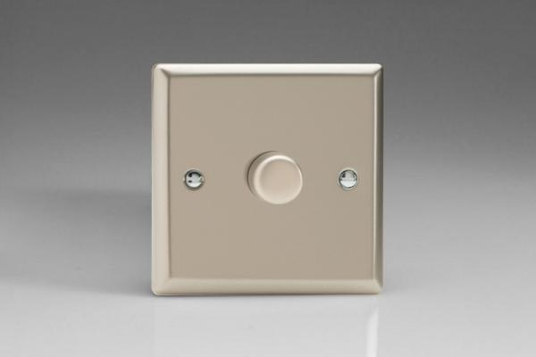 JNP401 Varilight V-Pro Series 1 Gang, 1 or 2 Way,Push-On/Off Rotary LED Dimmer 1 x 0-120W (1-10 LEDs), Classic Satin Chrome