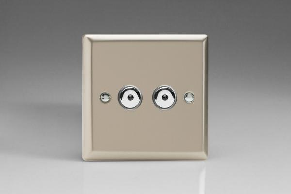 INI252M-CL Varilight 2 Gang, 1 or 2 Way or Multi-way 2x250 Watt Touch/Remote Master Dimmer, Classic Satin Chrome