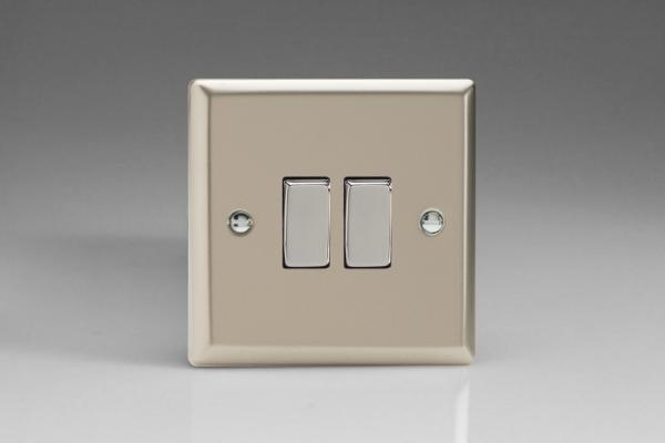 XN71D Varilight 2 Gang (Double): 1 Gang (3 Way) Intermediate and 1 Gang (1 or 2 Way) 10 Amp Switch, Classic Satin Chrome