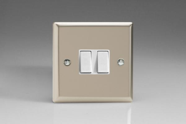XN71W Varilight 2 Gang (Double): 1 Gang (3 Way) Intermediate and 1 Gang (1 or 2 Way) 10 Amp Switch, Classic Satin Chrome