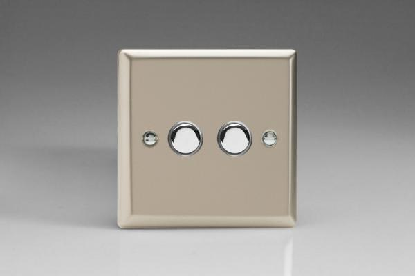 XNM2 Varilight 2 Gang (Double), 1 Way, 6 Amp  Retractive/Momentary Switch (Push To Make), Classic Satin Chrome