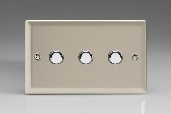 XNM3 Varilight 3 Gang (Triple), 1 Way, 6 Amp Impulse Retractive/Momentary Switch (Push To Make), Classic Satin Chrome