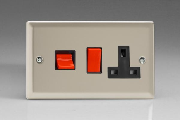 XN45PB Varilight 45 Amp Cooker Panel with 13 Amp Switched Socket (Horizontal Double Size), Classic Satin Chrome