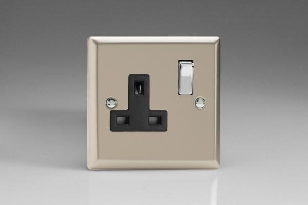 XN4DB Varilight 1 Gang (Single), 13 Amp Switched Socket, Classic Satin Chrome