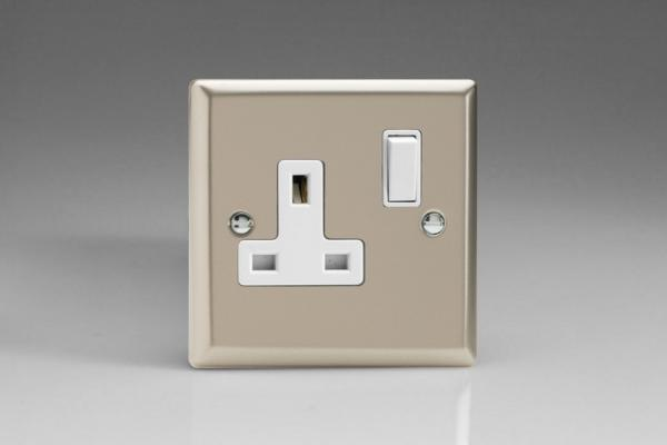 XN4W Varilight 1 Gang (Single), 13 Amp Switched Socket, Classic Satin Chrome