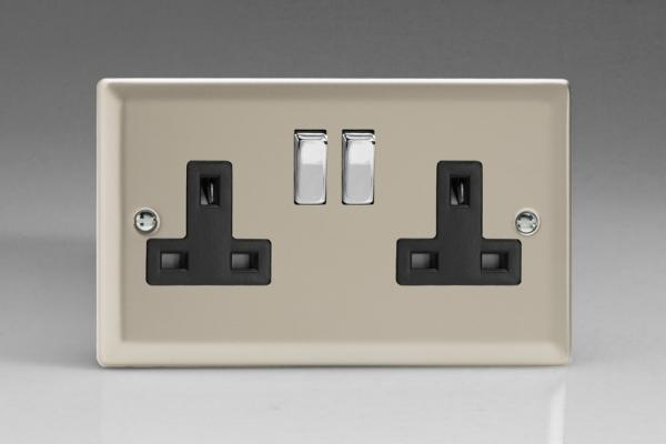 XN5DB Varilight 2 Gang (Double), 13 Amp Switched Socket, Classic Satin Chrome
