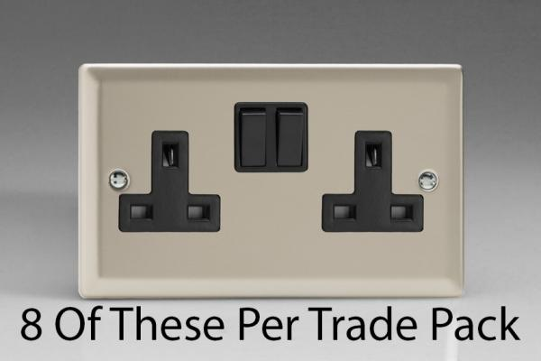 XN5B-P8  This is a Trade Pack item: 8 Units per box. Varilight 2 Gang (Double), 13 Amp Switched Socket, Satin Chrome