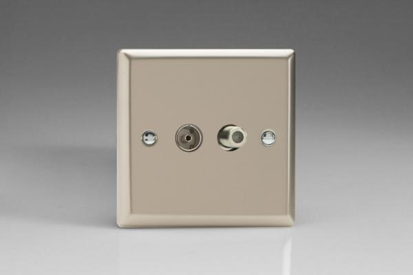 Varilight 2 Gang Co-axial TV and Satellite TV Socket Classic Satin Chrome